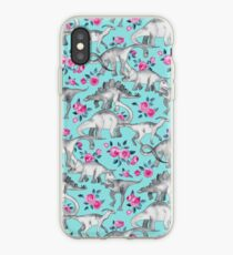 Dinosaurs and Roses – turquoise blue  iPhone Case