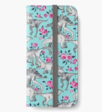 Dinosaurs and Roses – turquoise blue  iPhone Wallet/Case/Skin