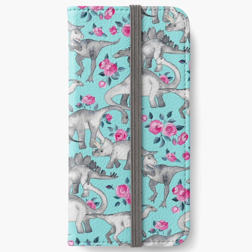 Dinosaurs and Roses – turquoise blue  iPhone Wallet