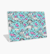 Dinosaurs and Roses – turquoise blue  Laptop Skin