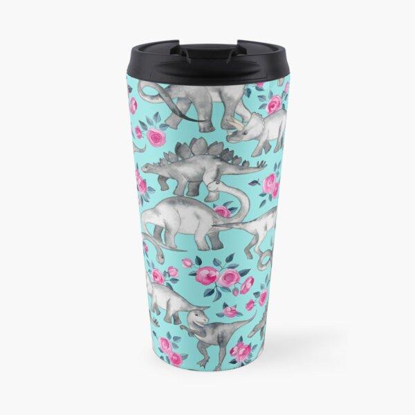 Dinosaurs and Roses – turquoise blue  Travel Mug