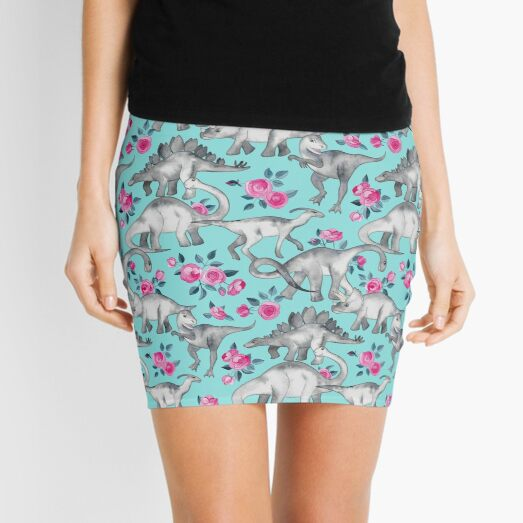 Dinosaurs and Roses – turquoise blue  Mini Skirt
