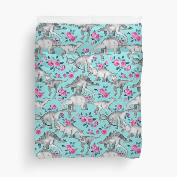 Dinosaurs and Roses – turquoise blue  Duvet Cover