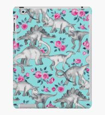 Dinosaurs and Roses – turquoise blue  iPad Case/Skin