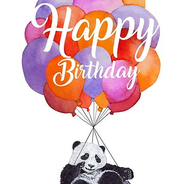 Happy Birthday Greeting Card Panda with Balloons by Ruta