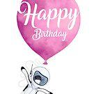 «Tarjeta de felicitación de feliz cumpleaños Pingüino con globo» de Ruta Dumalakaite