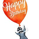 «Feliz cumpleaños tarjetas de felicitación Mapache con globo» de Ruta Dumalakaite