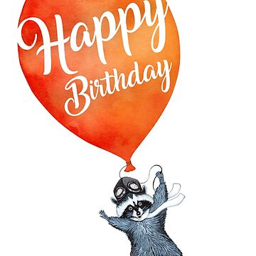 Happy Birthday greeting cards Raccoon with Balloon by Ruta