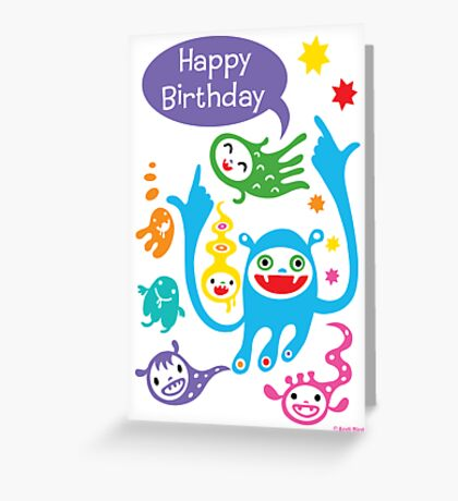 Monsters Birthday - card Greeting Card