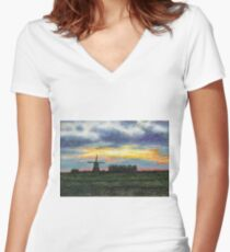 Dutch landscape in the evening Women's Fitted V-Neck T-Shirt