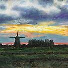 Dutch landscape in the evening by Maria Meester
