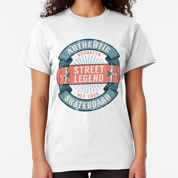 Hipster skateboarding logo with round ribbon and inverted skateboard Classic T-Shirt