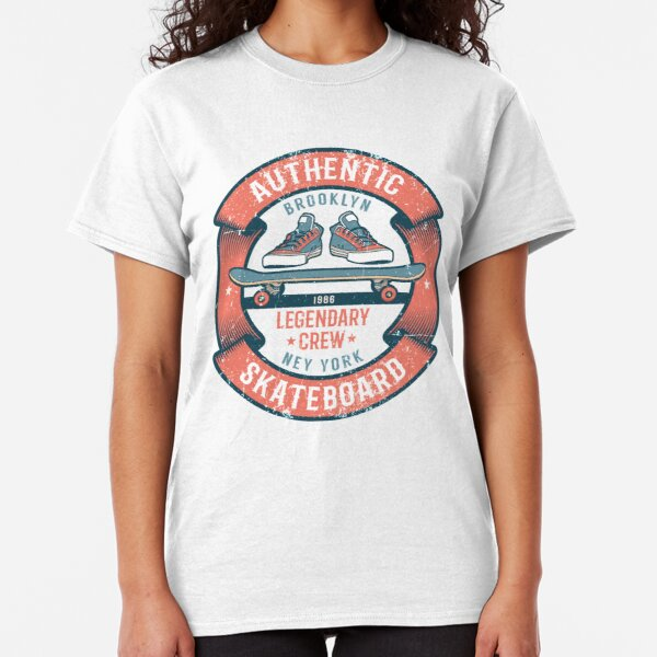 Retro emblem with skateboard, sneakers and ribbon Classic T-Shirt