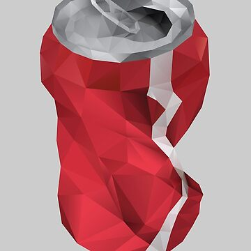 Crushed Cola Can Polygon art by polymolystudio