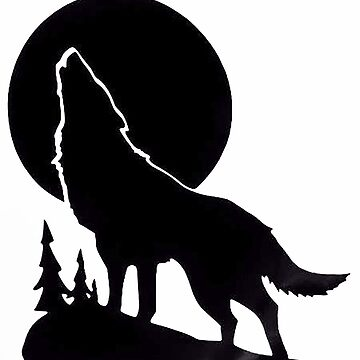 Wolf Howling black version by thatstickerguy