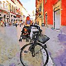 Teramo: bicycle and mom with baby in pram by Giuseppe Cocco
