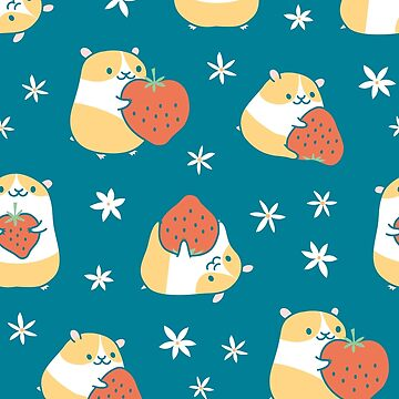 Hamsters with Strawberries Pattern - teal by zoel