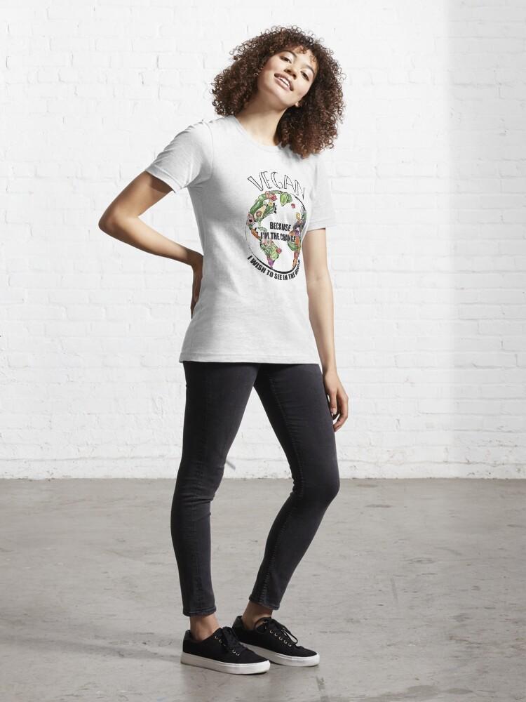 Alternative Ansicht von Vegan The Change I Wish To See In World - Funny Veganism Gift Essential T-Shirt