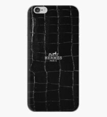 Black hermes paris texture Coque et skin iPhone