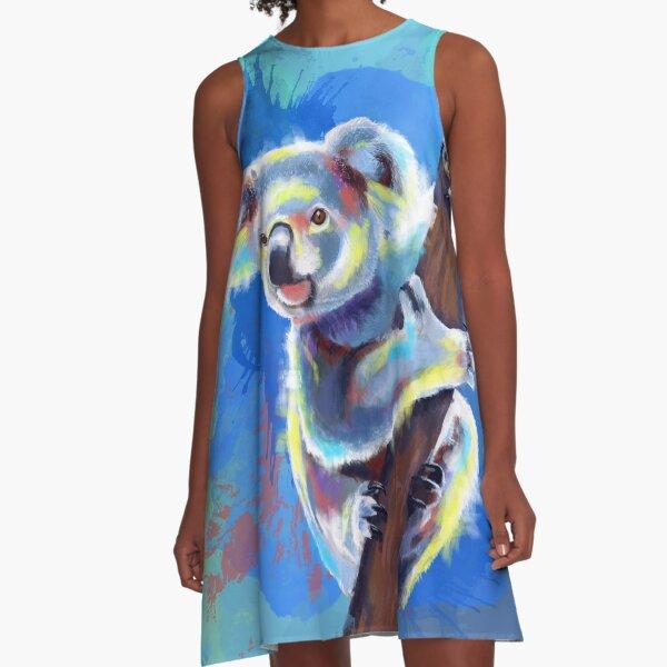 Koala Bear - koala illustration, colorful animal A-Line Dress