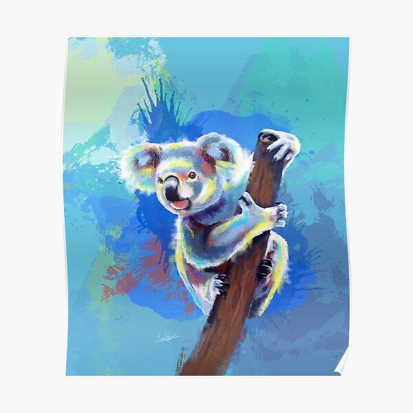 Koala Bear - koala illustration, colorful animal Poster