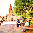 Teramo: cathedral with older men and women by Giuseppe Cocco