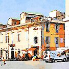 Teramo: child plays with the ball in the square by Giuseppe Cocco