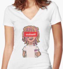 New Lil Pump Esskeetit Merchandise Women's Fitted V-Neck T-Shirt