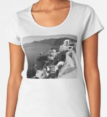 Santorini Cliffs ~ Black & White Women's Premium T-Shirt