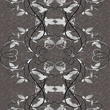 Floral Abstract Swirls in Black and White by JMarielle