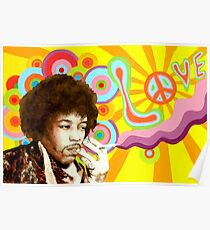 Póster Jimi Hendrix Music Hippie Peace Love