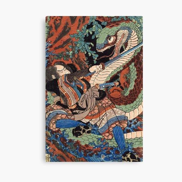 Japanese Warrior Battles Giant Serpent Canvas Print