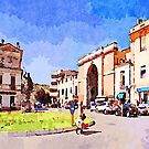 Teramo: woman in the public square of the city gate by Giuseppe Cocco