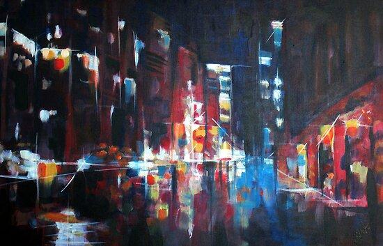 New York 2009. Abstract Skyline Painting by Samuel Durkin