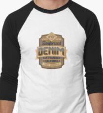 Vintage Retro Style Denim Logo Men's Baseball ¾ T-Shirt