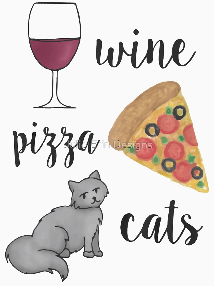 Wine Pizza Cats by julieerindesign