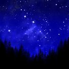 Blue Galaxy Forest Night Sky by julieerindesign
