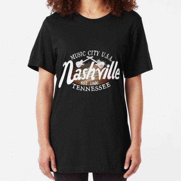 Nashville TN Tshirt Vintage Music City USA EST 1806 Gift Slim Fit T-Shirt