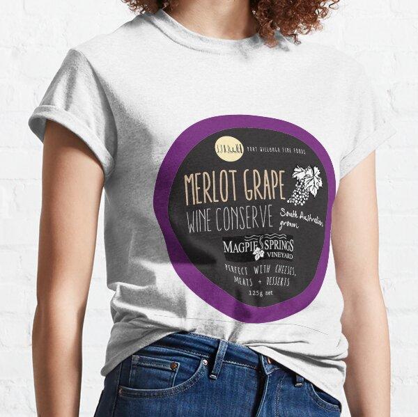 Merlot Grape Wine Conserve - Magpie Springs - Adelaide Hills Wine Region - Fleurieu Peninsula - South Australia Classic T-Shirt