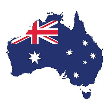 AUSTRALIA MAP AND FLAG BLUE by Madjack66