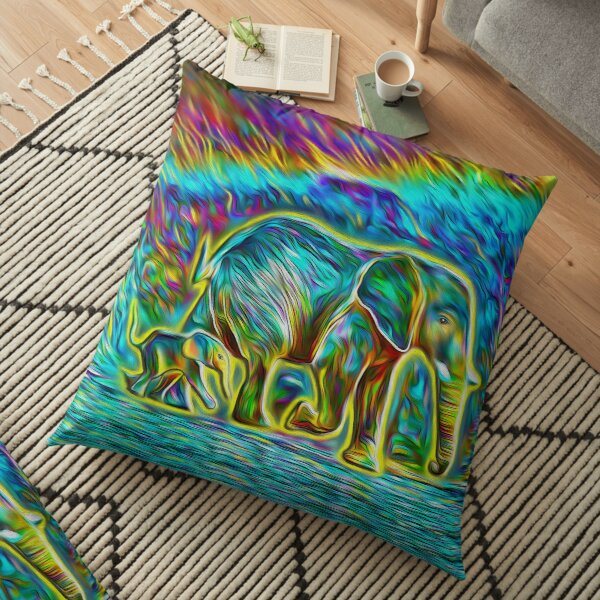 Rainbow Elephants with Yellow Glow Floor Pillow