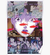 Perfekte blaue Satoshi Kon Animationsfilm-Collage Poster