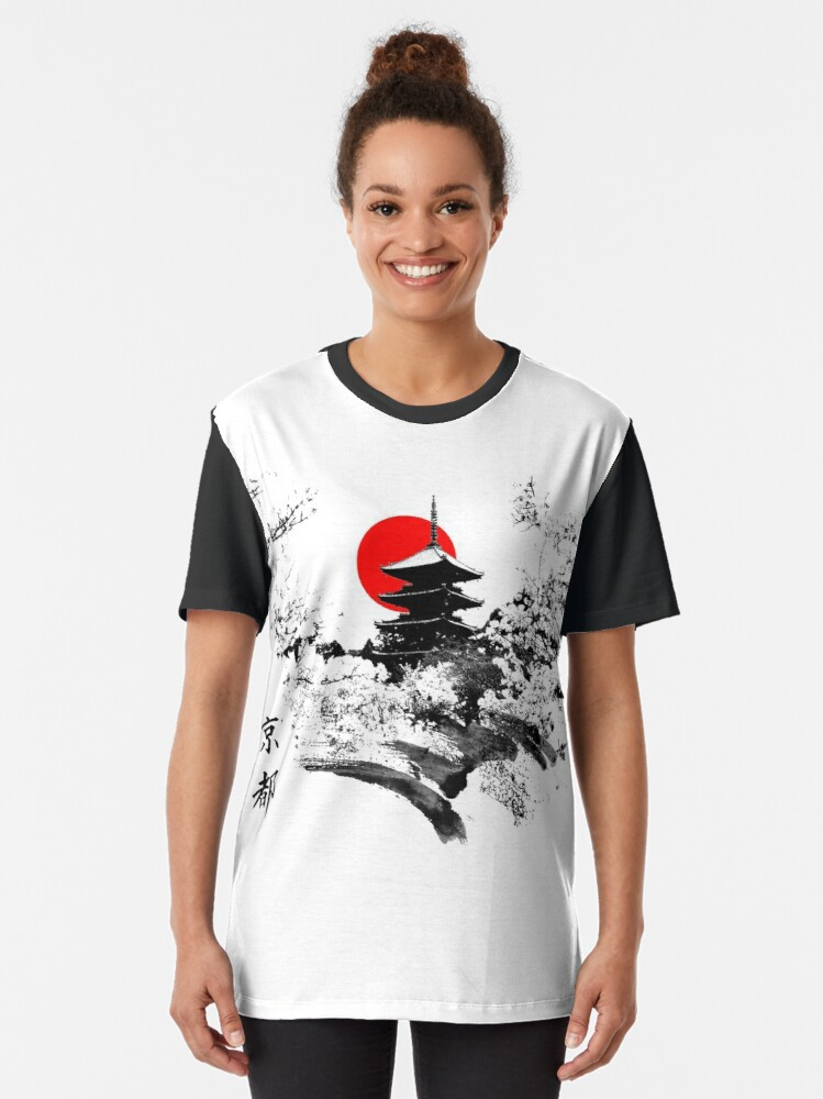 Alternate view of Kyoto Japan Old Capital Graphic T-Shirt
