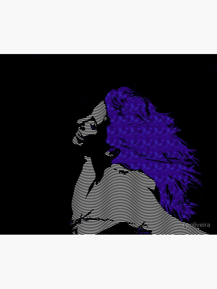 woman blue hair Freedom illustration engraving style by epoliveira