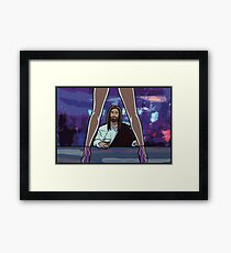 You find him in the strangest places Framed Print