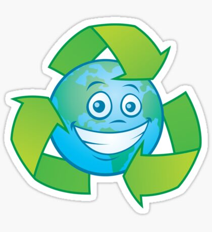 Planet Earth Recycle Cartoon Character Sticker
