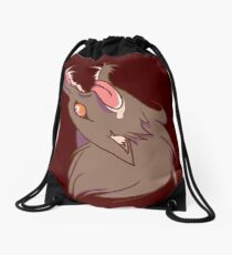 Wolf Snarling (red) Drawstring Bag