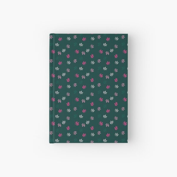 Pink and green textured stamps on dark green Hardcover Journal