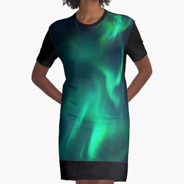 Northern Lights, Aurora Borealis, Night Sky, Green, Alaska Graphic T-Shirt Dress