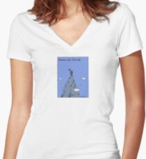 Woman with Altitude - Full colour Women's Fitted V-Neck T-Shirt